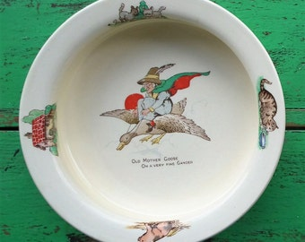 Vintage Baby Bowl Old Mother Goose Harry Hancock Tunstall Ltd England nursery rhyme ware children's crockery illustrated cereal bowl dish