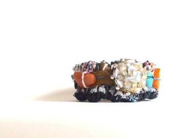 Unique Boho Chic Handmade Bracelet, Textile Art Cuff Bracelet in Blue, Brown, Burnt Orange Turquoise