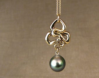 Art Nouveau Snake + Tahitian Pearl Necklace