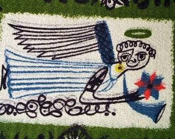 Vintage barkcloth fabric impressionist mid centuty design cotton antique folk art curtain drapery panels