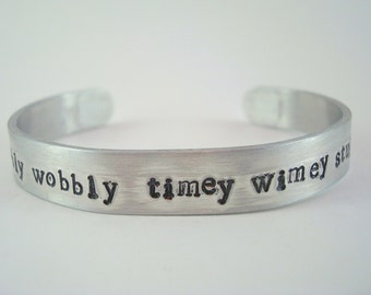 Wibbly Wobbly Timey Wimey Stuff Cuff Bracelet | Doctor Who | Hand Stamped