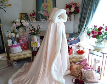 Beauty And Belle Inspired Bridal Cape Blush Satin / Ivory Satin 52/67 inch  Hooded Wedding Cloak with Fur Trim Handmade in USA
