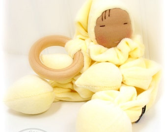 Velour Teething Gnome Doll Waldorf Natural Materials Wooden Ring Baby Toys Washable-Soft Yellow