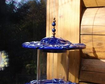 Deep Blue Grape Vine Hanging Ceramic Bird Feeder