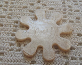 Vintage Mother of Pearl Snowflake Thread Winder