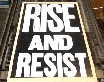Rise and Resist Letterpress Print
