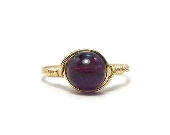LG Amethyst Gemstone Ring 14k Yellow Gold Fill Wire Wrapped Ring