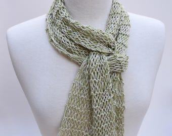 Linen and Alpaca Scarf- Hand Knit/ Lime/Beige/Wheat
