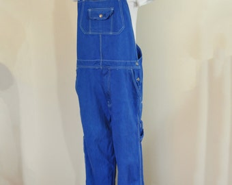 "Blue Mens Medium Bib OVERALL Pant - Royal Blue Dyed Upcycled Craftsman Denim Overalls - Adult Mens Medium Womens Large (38"" Waist x 31"" L)"