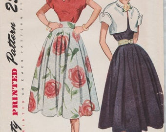 Simplicity 3285 / Vintage 50s Sewing Pattern / Skirt Blouse And Bolero Jacket / Size 16 Bust 34