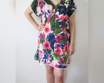 Vibrant Floral Tunic Dress with Mini Pom-Poms