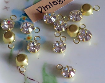 Vintage Swarovski Drops Rhinestones Crystal 6mm round Prong Pronged Setting Dangles NOS Glass NOS Gold Plated. #999X