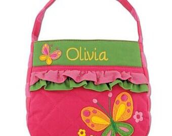 Personalized BUTTERFLY Purse Stephen Joseph Girls Ruffle Purse Monogram Purse Monogram Pocketbook Embroidered Girls Handbag