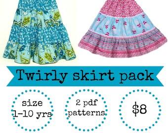 Twirl skirt pattern, Girls skirt pattern, Easy skirt pattern, Skirt pattern, Toddler pattern, PDF sewing pattern - 2 Twirly skirt patterns