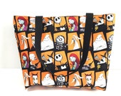 Tote Bag with Pocket, The Nightmare Before Christmas, Bag, Jack Skellington Tote, Purse, School Bag,  Lined bag, Trendy, Gift, Gift for her