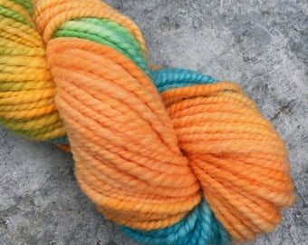 Handspun Texel, Hand Dyed, Orange with a Twist, 2 ply Worsted Handspun Yarn Uk