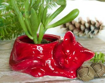 Ruby Red Kitty planter, ceramic succulent planter air plant mini plant pot cat lover Christmas gift desk decor accessory