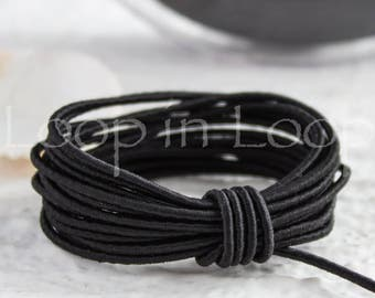 Black Ebony SILK cord, Wrapped Silk Satin Cord rope 1.5 mm thick, organic natural hand spun silk, polyester core, for Jewelry (3 feet)