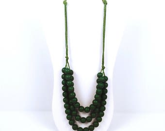 Vintage 1980s Triple Strand Green Beaded Necklace
