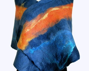 Blue Wool Scarf - Blue and Orange - Wool Cashmere Wrap - Stole - Felted Scarves - Sunrise