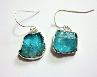 Neon Blue Apatite Earrings Natural Raw Apatite Nugget Earrings Rough Natural Neon Blue Apatite Gemstone Earrings in Solid Sterling Silver