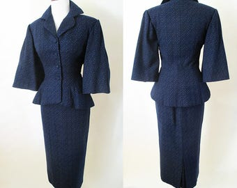 Killer Lilli Ann Vintage 1950's Designer Suit/ peplum/ dramatic sleeves Hollywood Chic Cocktail Suit VLV Rockabilly, Pinup Girl size  Small