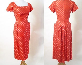 "Sassy 1950's Silk Polka-dot  Dress with ""Fish Tail"" VLV Rockabilly Vintage Dead Stock Party Cocktail Dress Pinup Girl Chic Size-Small/Medium"