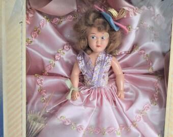 Vintage MARCIE DOLL PINK Satin Dress Rosette Trim Parasol Umbrella Blue Hat Flower Original Box Girl 1940s White Shoes Bonnet Story Book