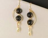 Black Tourmaline Gemstone Gold Dangle Earrings, Asymmetrical Black Wire Earrings, Artisan Gold Wire Earrings, Black Gold Earrings
