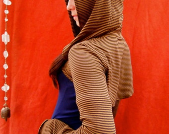 The Brown & Gold Striped Cotton Knit Hooded Shrug by Opal Moon Designs (size S-XL)