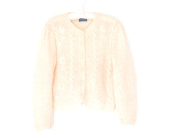 Vintage Mohair Sweater * Cropped Cardigan Sweater * White Embroidered Sweater * Medium