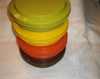 Vintage Tupperware Stacking Stackable Cereal Bowls with lids Containers