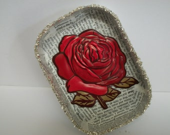 Decoupaged Tray A Rose on Printed Words Upcycled Repurposed