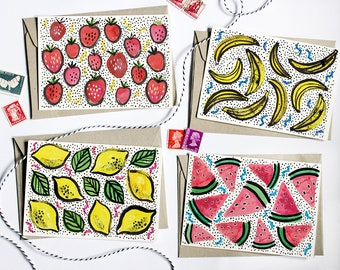 Mixed Card Set - Set of Four Fruity Cards