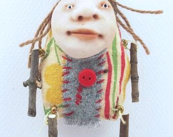 Folk Art Doll Ornament holiday christmas coth clay miniature doll #54