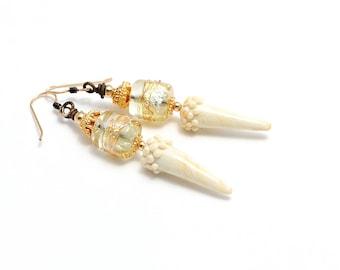 Bridal Earrings. White Ivory Lampwork Glass Bead Earrings. Wedding Bridal Anniversary Dangle Earrings. Gifts For Her. Lampwork Jewelry.