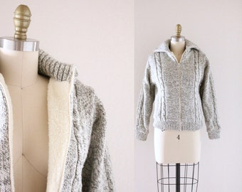 S A L E Heathered Gray Cable Knit  / Fleece Lined Sweater Coat