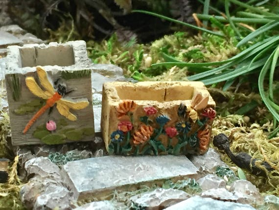 Mini Stone Look Planters, Bee & Dragonfly Planters, Set of 2, Fairy Garden, Miniature Garden Accessory, Decoration, Crafts