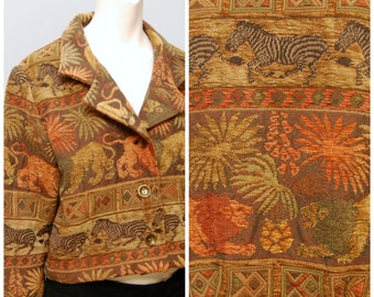 Vintage 1990's Cropped Jacket - Brown Woven Animal Pattern with Lions and Zebras - Size Small - Thick Blazer Coat