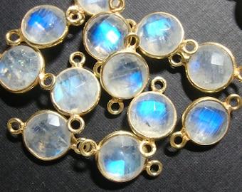 2pcs, 15x9mm,8mm stone, Blue Moonstone Gold Vermeil 925 Sterling silver Bezel Rim Pendant Charm Connector