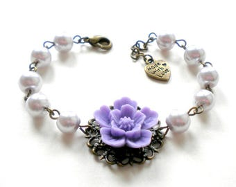 Lavender Bracelet Lavender Pearl Bracelet Violet Wedding Jewelry Will You Be My Maid Of Honor Gift Lavender Bridesmaid Bracelet