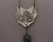 Reserved for Carol  Tanzanite and Roses  Antique Spoon Necklace