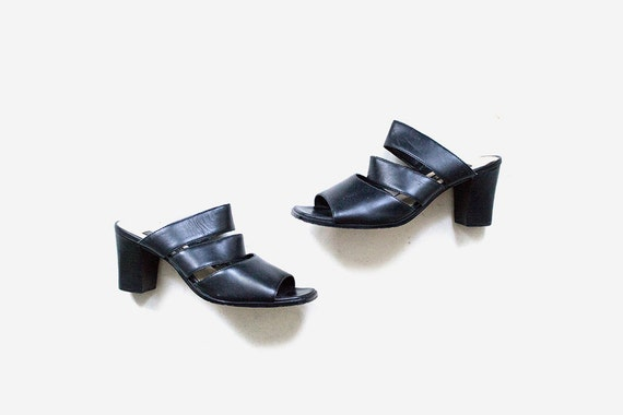 Vintage Leather Mules 7.5 / Black Leather Mule Heels / Minimal Heels / Strappy Sandals / Peep Toe Mules