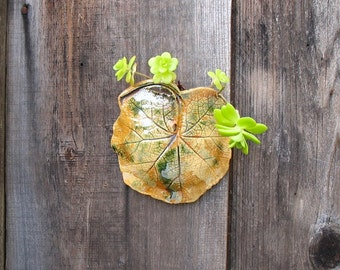 Leaf Wall Planter - Mini Clay Succulent or Air Plant Holder Made with a Real Hollyhock Leaf - Ceramic Wall Hanging - Unique Gardener Gift
