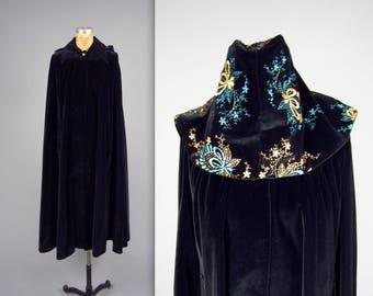 1970s PIERRE CARDIN velvet cape • vintage 70s cape • designer hooded winter cape