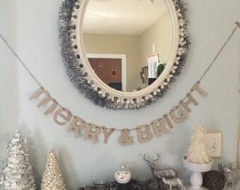 MERRY & BRIGHT Christmas Glitter Letter Banner Garland