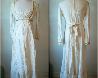 70s maxi cotton BOHO wedding dress - floral embroidery - bodice - made by Fritzi - size