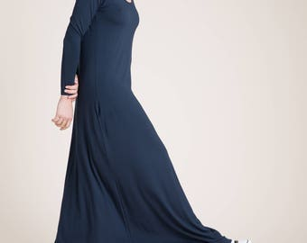NEW Maxi Dress / A Line Dress Dress / Reglan Sleeve Dress / Casual Dress / Loose Dress / Long Black Dress / marcellamoda - MD840