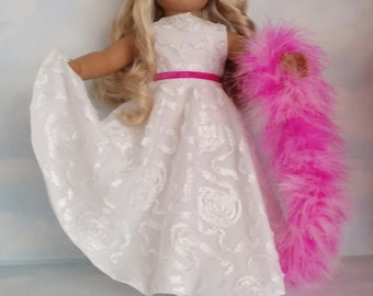 18 inch doll clothes - #218 White Ribbon Gown made to fit the American Girl Doll  - FREE SHIPPING          l