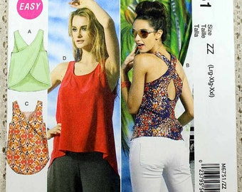 McCall's 6751, Misses' Tops Sewing Pattern, Easy Top Pattern, Hi-Low Style Top Pattern, Misses' Size L, XL, XXL (16 to 26), Uncut